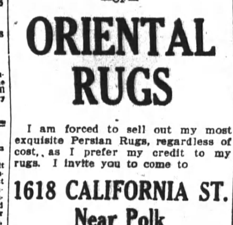 Advertisement for Persian Rugs